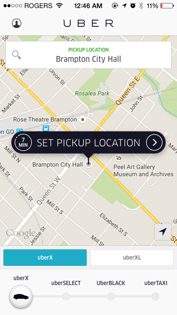 how to call uber taxi in brampton