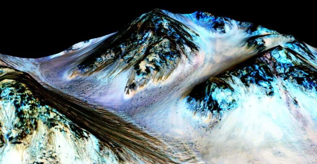 "HALE CRATER, MARS - UNSPECIFIED DATE: In this handout provided by NASA's Mars Reconnaissance Orbiter, dark, narrow streaks on the slopes of Hale Crater are inferred to be formed by seasonal flow of water on surface of present-day Mars. These dark features on the slopes are called ""recurring slope lineae"" or RSL. Scientists reported on September 28, 2015 using observations with the Compact Reconnaissance Imaging Spectrometer on the same orbiter detected hydrated salts on these slopes at Hale Crater, corroborating the hypothesis that the streaks are formed by briny liquid water. (Photo by NASA/JPL-Caltech/Univ. of Arizona via Getty Images)"