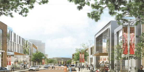 The development would be anchored by a new mall and movie theatre. The project has been on the books since , but is currently stuck in a legal battle at the Ontario Municipal Board (OMB).