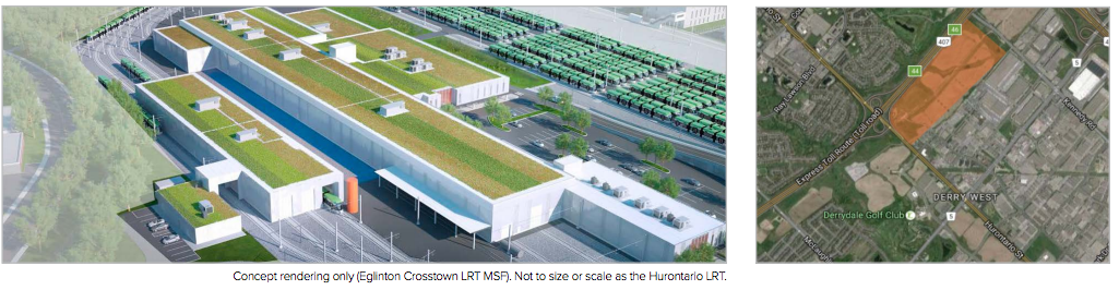 What a similar maintenance facility will look like on the Eglinton LRT and where the Hurontario facility will be placed.