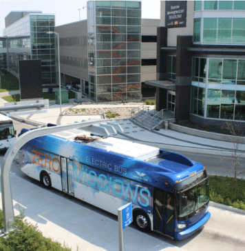 New Flyer Industries electric bus with charger in Winnipeg. // Courtesy of New Flyer Industries.
