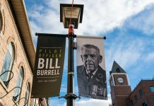 35 banners hang high on Main Street North and South in Downtown Brampton, as a tribute to Veterans who have a connection to Brampton