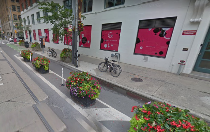 Protected Cycle Tracks (bike lane) on Adelaide Street in Toronto // Courtesy of Google Maps
