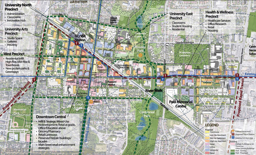 Downtown Brampton Overview // Courtesy of Larry Beasley & Associates and Civitas