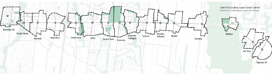Major Transit Station Areas for Queen BRT // Courtesy of the City of Brampton