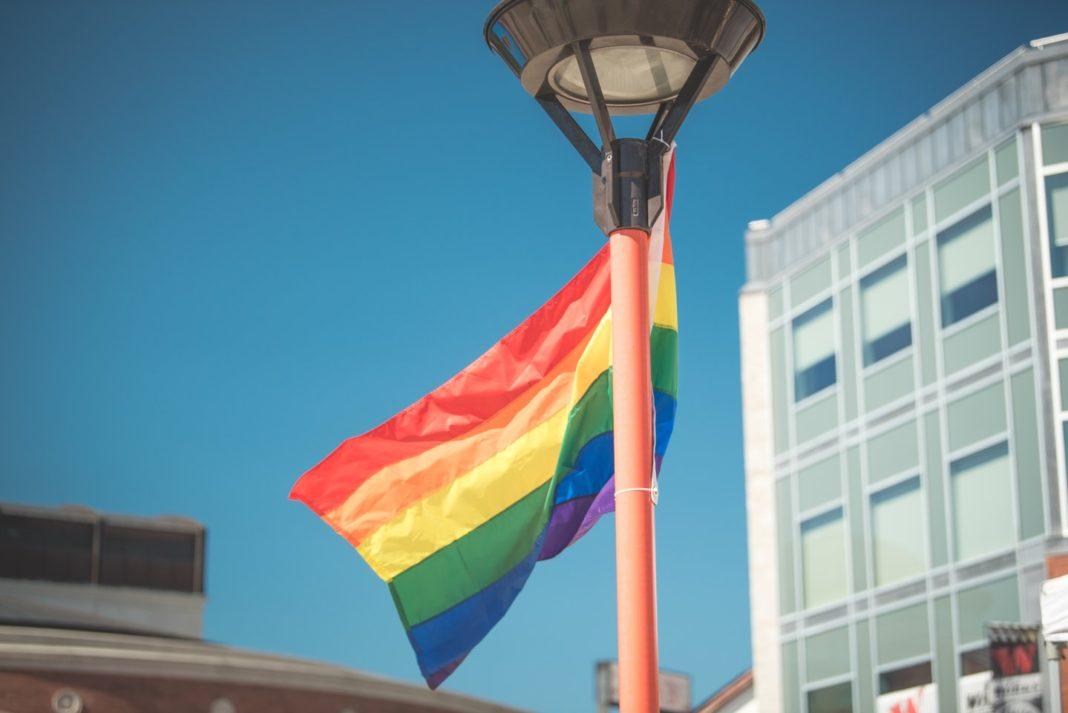 Pride flag in Garden Square Brampton