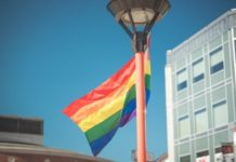 Pride flag in Garden Square Brampton