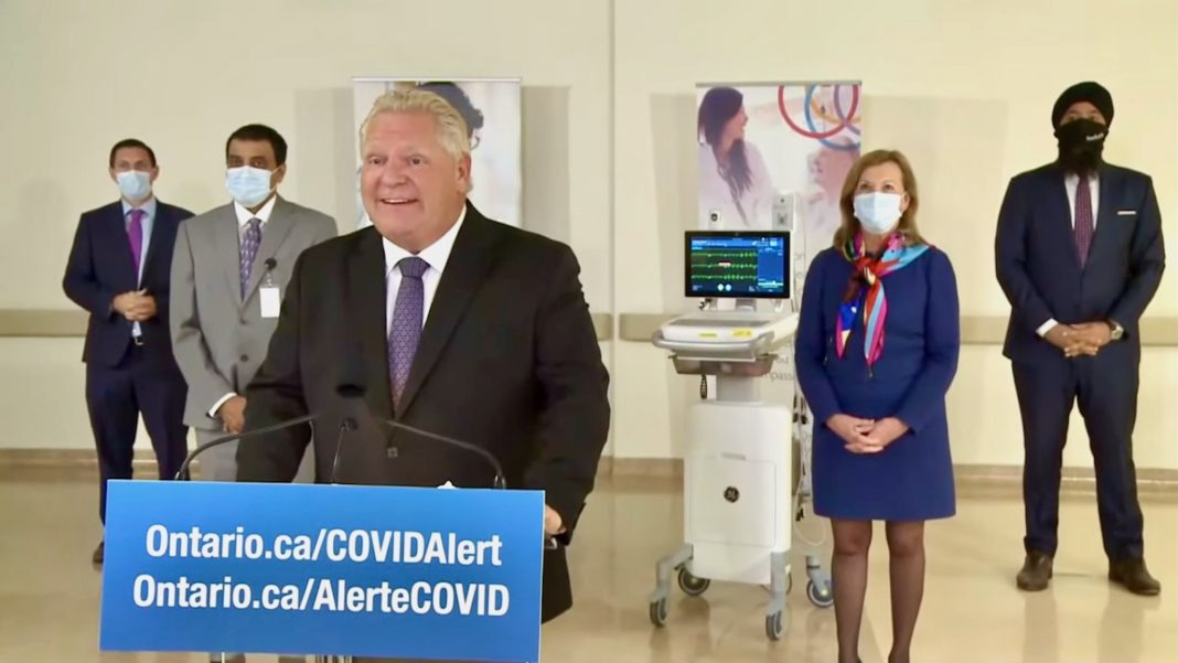 (left to right) Patrick Brown, Mayor of Brampton, Dr. Naveed Mohammad, President and CEO, William Osler Health System, Doug Ford, Premier of Ontario, Christine Elliott, Deputy Premier and Minister of Health and Prabmeet Sarkaria, Associate Minister of Small Business and Red Tape Reduction and Member of Provincial Parliament for Brampton South.